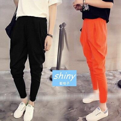 【V0873】shiny藍格子-基本元素.百搭顯瘦鬆緊腰小腳九分哈倫褲
