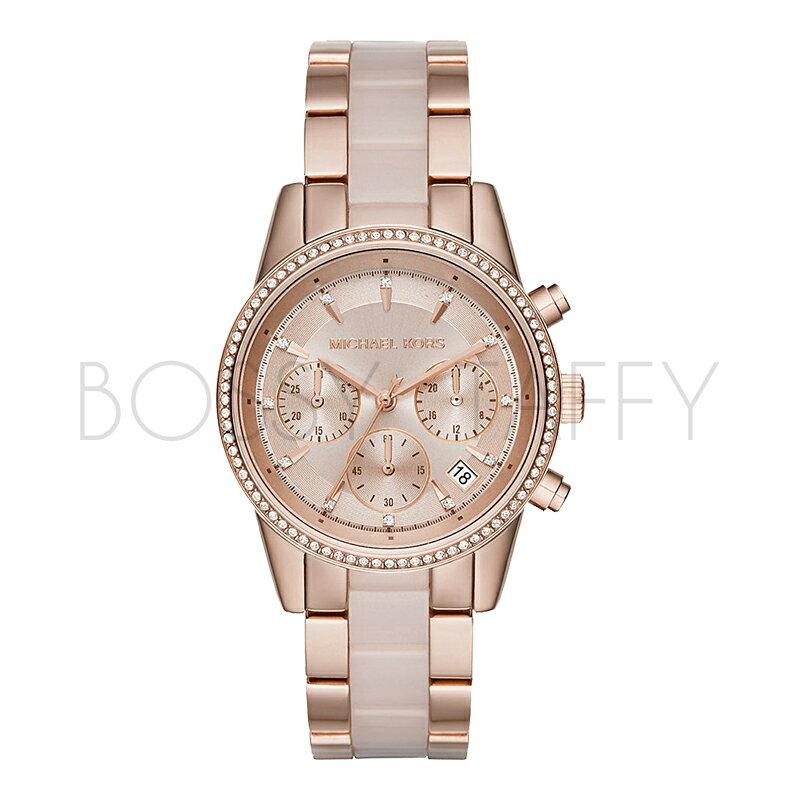 MICHAEL KORS 玫瑰金色鑲鑽不銹鋼三眼計時手錶