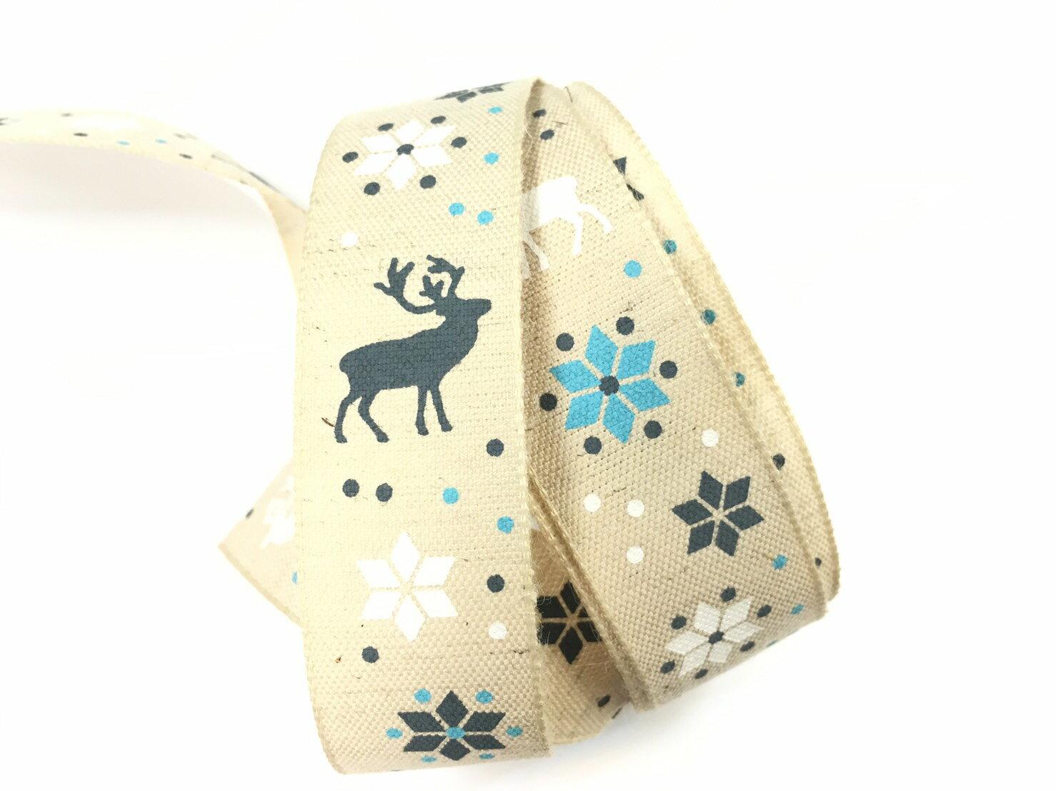 雪花麋鹿棉麻緞帶22mm3碼裝 0