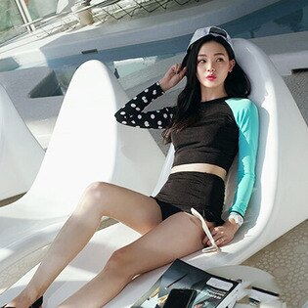 PS Mall 韓版點點拼接長袖防曬泳衣 高腰兩件式泳裝【ET515】 溫泉 沙灘 BIKINI 衝浪 潛水 浮淺