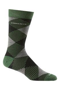 《台南悠活運動家》icebreaker 紐西蘭 男中筒細針織菱紋都會休閒襪 童軍綠 IB102839-301