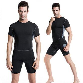 男短袖健身塑身衣(灰,黑)