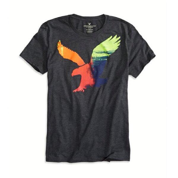 美國百分百【American Eagle】T恤 AE 短袖 上衣 T-shirt 老鷹 深灰 漸層 圓領 男 XS S號 F256