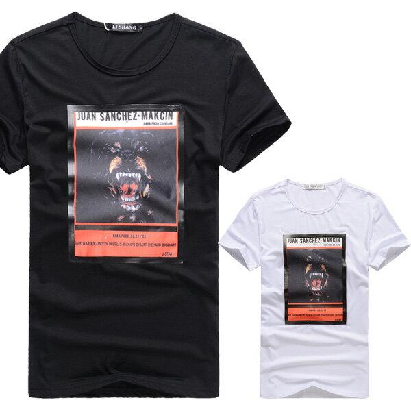 T恤.潮T.Tshirt 情侶裝.純棉.情侶T恤.短T.個性獵犬照片【A31058】艾咪E舖.班服 0