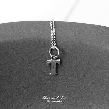 925純銀項鍊 簡單大方英文字母T造型頸鍊短鍊 個性女孩百搭 抗過敏設計 柒彩年代【NPB29】 0