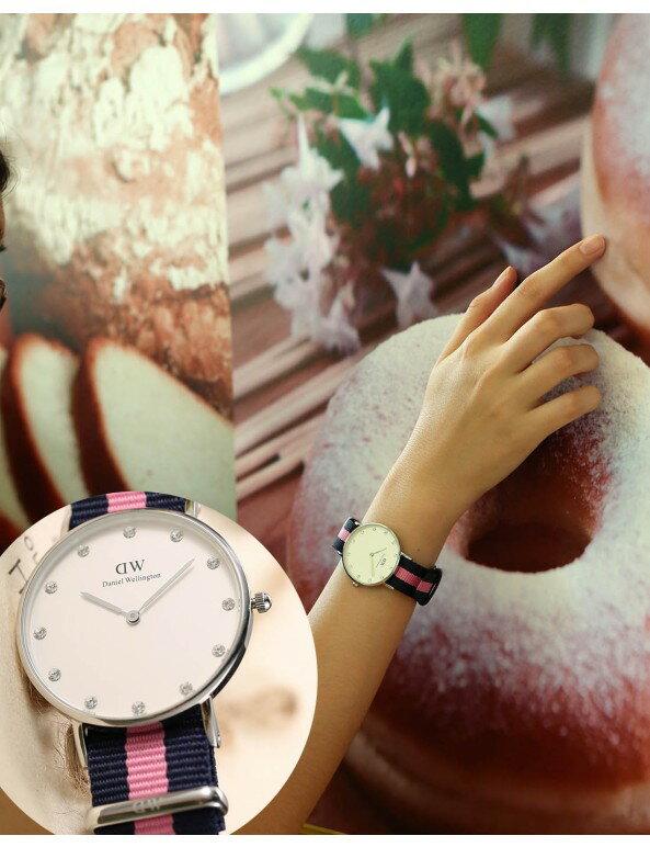 瑞典正品代購 Daniel Wellington 0962DW 銀 玫瑰金 尼龍 帆布錶帶 女錶手錶腕錶 36MM 3