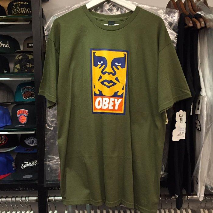 BEETLE PLUS 西門町經銷 全新 美國品牌 OBEY ORANGE ICON FACE BOX LOGO 橘 人臉 文字 軍綠 墨綠 TEE 163080544OLV OB-259 - 限時優惠好康折扣