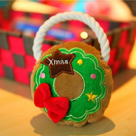【小樂寵】聖誕花圈咬繩發聲玩具