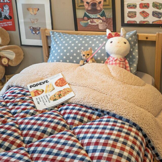 經典格子 羊羔絨暖被 內有充棉 可當棉被使用 150cmX195cm (正負5cm) 2