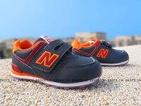 New Balance 美國慢跑鞋/跑步鞋推薦Shoestw【KV574Z6I】NEW BALANCE 574 果凍底 防滑 小童鞋 運動鞋 深藍橘