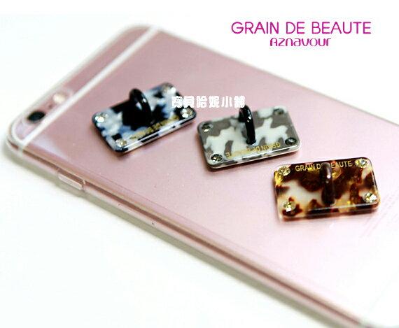 BHJ253-法國品牌Grain de Beaute 施華洛世奇晶鑽豹紋可愛手機掛勾貼 手機貼【韓國製】Aznavour