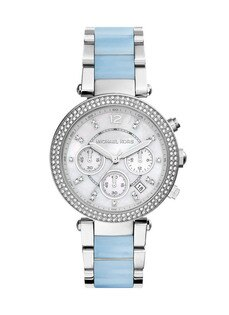 【MICHAEL KORS】正品  美式奢華休閒腕錶 水藍色錶盤水鑽 MK6138