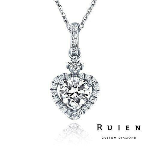 GIA 0.50克拉 D color 3EX H&A 18K白金 雜誌款鑽石項鍊 RUIEN 瑞恩珠寶