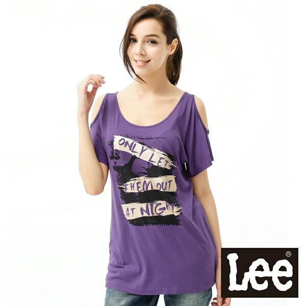 【 3折優惠↘ 】Lee 短袖T恤 露肩設計-女款(紫)