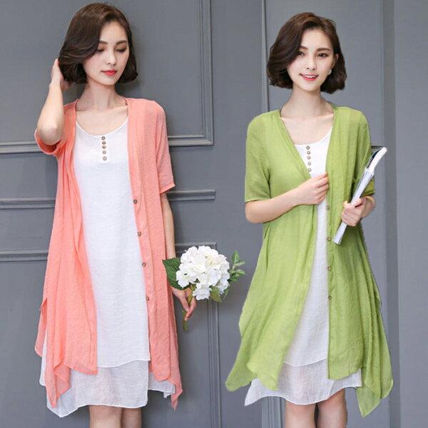 糖衣子流行館【TB8820】韓版時尚棉麻文藝復古兩件套連身裙(預購款10天)