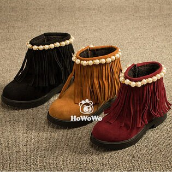 寶寶鞋 流蘇PU絨內裡學步鞋 公主鞋 短靴 馬丁靴 (15.5-18cm) KL620