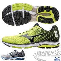慢跑_路跑周邊商品推薦到MIZUNO 美津濃 WAVE RIDER 18 男慢跑鞋(綠*黑) 2015年最新款