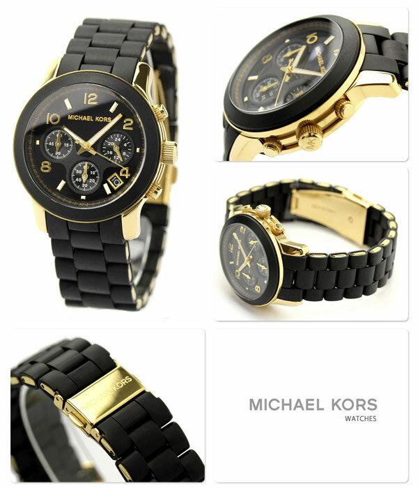 美國Outlet正品代購 MichaelKors MK 黑色橡膠 三環 運動風手錶腕錶 MK5191 5