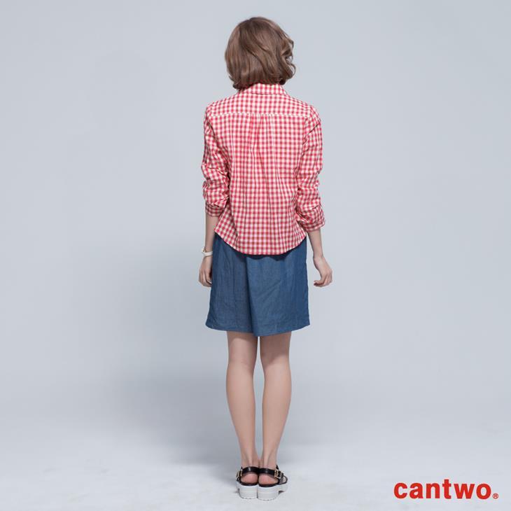 cantwo雙色格紋丹寧假兩件長袖洋裝(共三色) 3