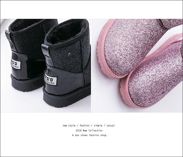 格子舖*【KS1206】寒冬閃耀華麗亮片金蔥 保暖柔軟厚毛料 防滑膠底短筒雪靴 雪地靴 3色 1