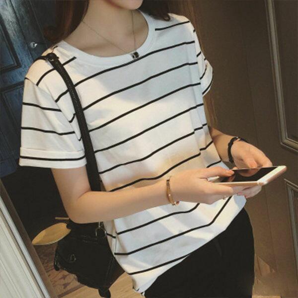 PS Mall 捲邊條紋圓領上衣 寬鬆短袖T恤~T028~ ~  好康折扣