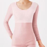保暖服飾推薦【Gunze郡是】日本原裝進口發熱衣女生 圓領長袖 粉
