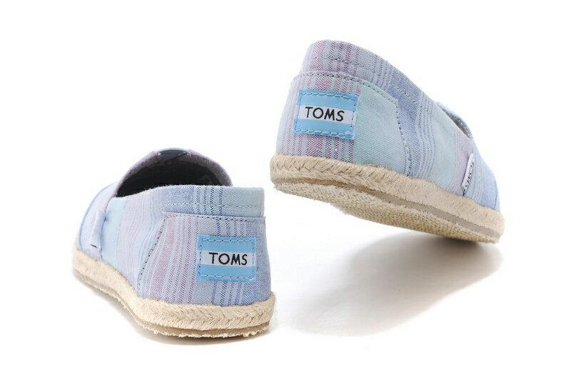 [女款] 國外代購TOMS 帆布鞋/懶人鞋/休閒鞋/至尊鞋 亞麻系列  亞麻底彩條藍 3