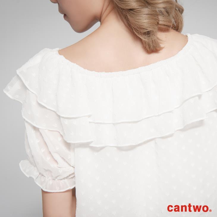cantwo粉彩荷葉雪紡洋裝(共二色) 5