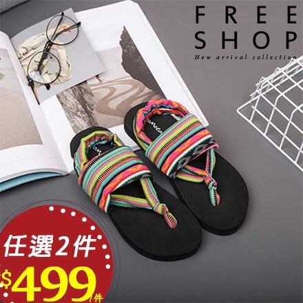 拖鞋 Free Shop【QFSFT9168】人氣爆款波西米亞民族風圖騰綁帶人字拖鞋平底涼鞋沙灘鞋夾腳拖鞋