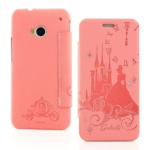【Disney 】NEW HTC ONE 公主系列Cinderella灰姑娘時尚水鑽壓紋皮套