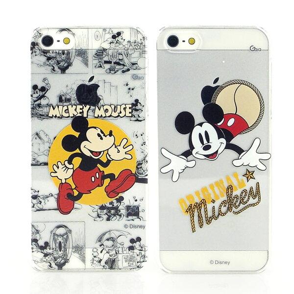 【Disney 】iPhone SE/i5/i5s 彩繪米奇復古風透明保護殼