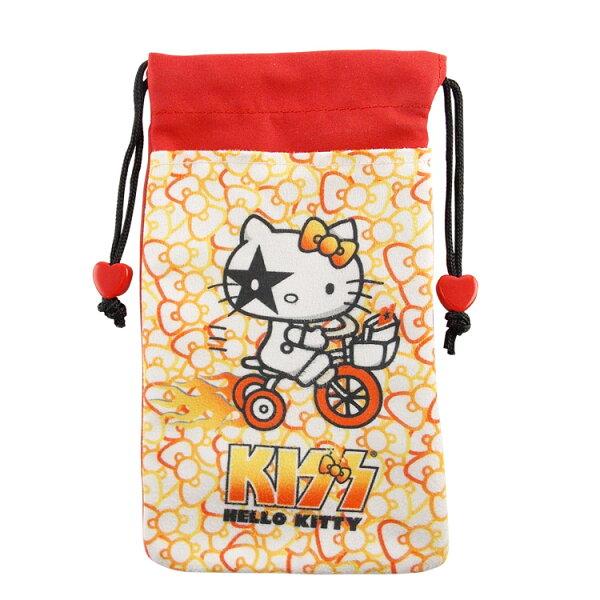 【KISS HELLO KITTY 】4.7吋通用繽紛雙層收納束口袋-蝴蝶結腳踏車