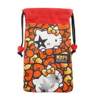 凱蒂貓週邊商品推薦到4.7吋通用繽紛雙層收納束口袋-紅色蝴蝶結【KISS HELLO KITTY 】