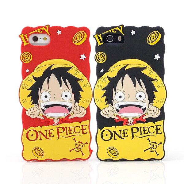 ONE PIECE 航海王iPhone SE/i5/i5s 2D立體保護套-熱血魯夫