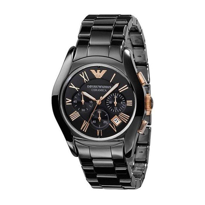 【ARMANI亞曼尼】經典羅馬黑色陶瓷三眼計時腕錶\情侶款(AR1410\AR1411)-玫瑰金 3