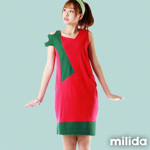 【milida】☆夏季尾聲☆無袖款☆露肩造型拼貼洋裝