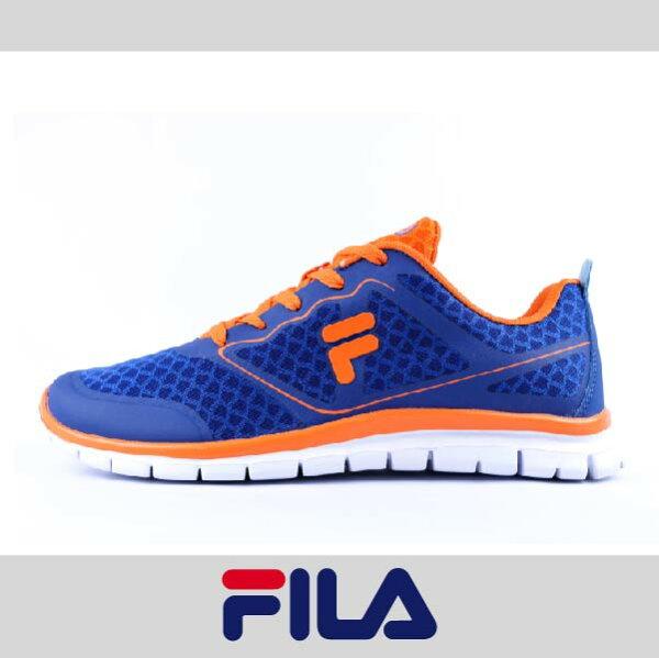 萬特戶外運動 FILA 1-J934P-366 男運動鞋 舒適 透氣 特價 藍橘色