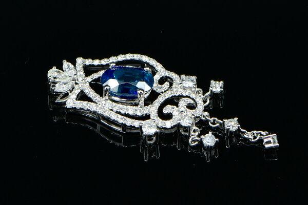 Jade Su Jewelry藍寶石鑽墬,頂級天然無燒藍寶石3.19克拉,鑲嵌天然南非鑽石圓形83顆總重1.48克拉.搭配18K白金墬台,附中鼎寶石鑑定書.