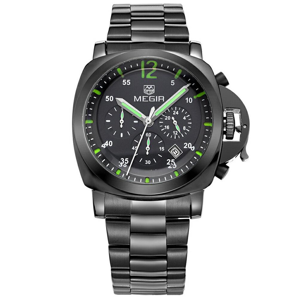 MEGIR 美格爾 3006真三眼日曆多功能計時凸面金屬男錶 0