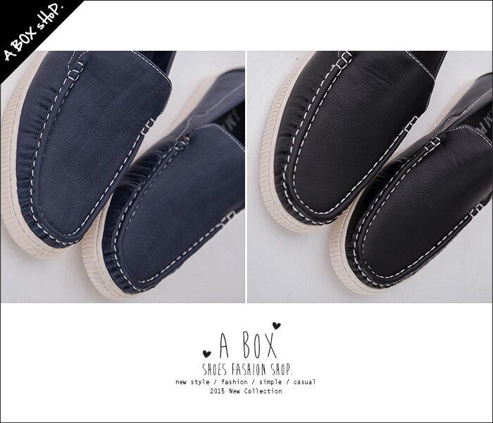 格子舖*【AJ96062】英倫紳士型男 高質感皮革簡約素面 休閒縫線帆船鞋 懶人鞋 2色 1