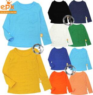 童衣圓【AA012】AA12純色口袋上衣 epk 長袖 圓領 素面 純色 素色 內搭 T恤 上衣 百搭~90-150