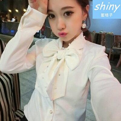 【V0265】shiny藍格子-輕甜作風.時尚洋氣珍珠大蝴蝶結領長袖襯衫