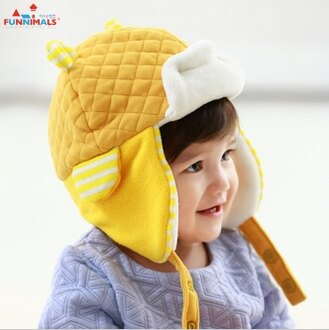 Funnimals◆秋冬可愛3D立體條紋小耳朵造型兒童保暖毛絨雷峰帽-黃色