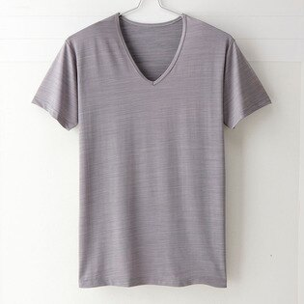 【MIGER密格內衣】型男涼爽吸排好觸感V領短袖衫。可呼吸超細纖維(紳仕灰)-台灣製-(編號:FA38613)