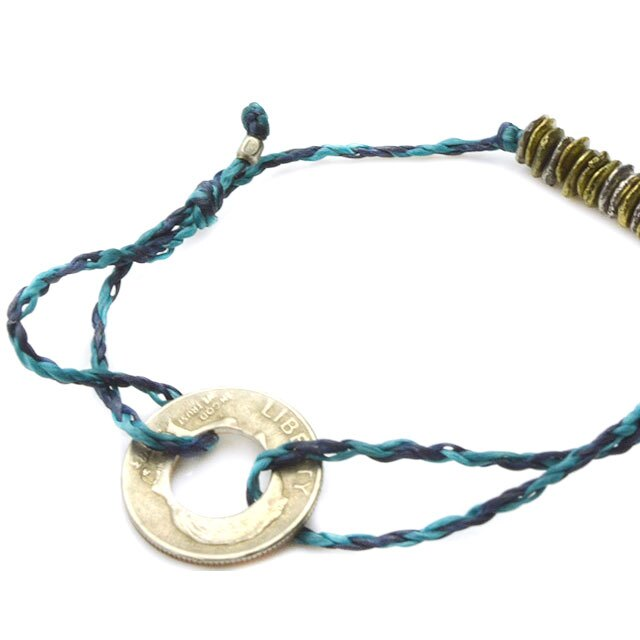 【海外訂購】【amp japan】10 Cent 錢幣藍色蠟繩手環(AMP-14AHK-420BL  0755430000) 1