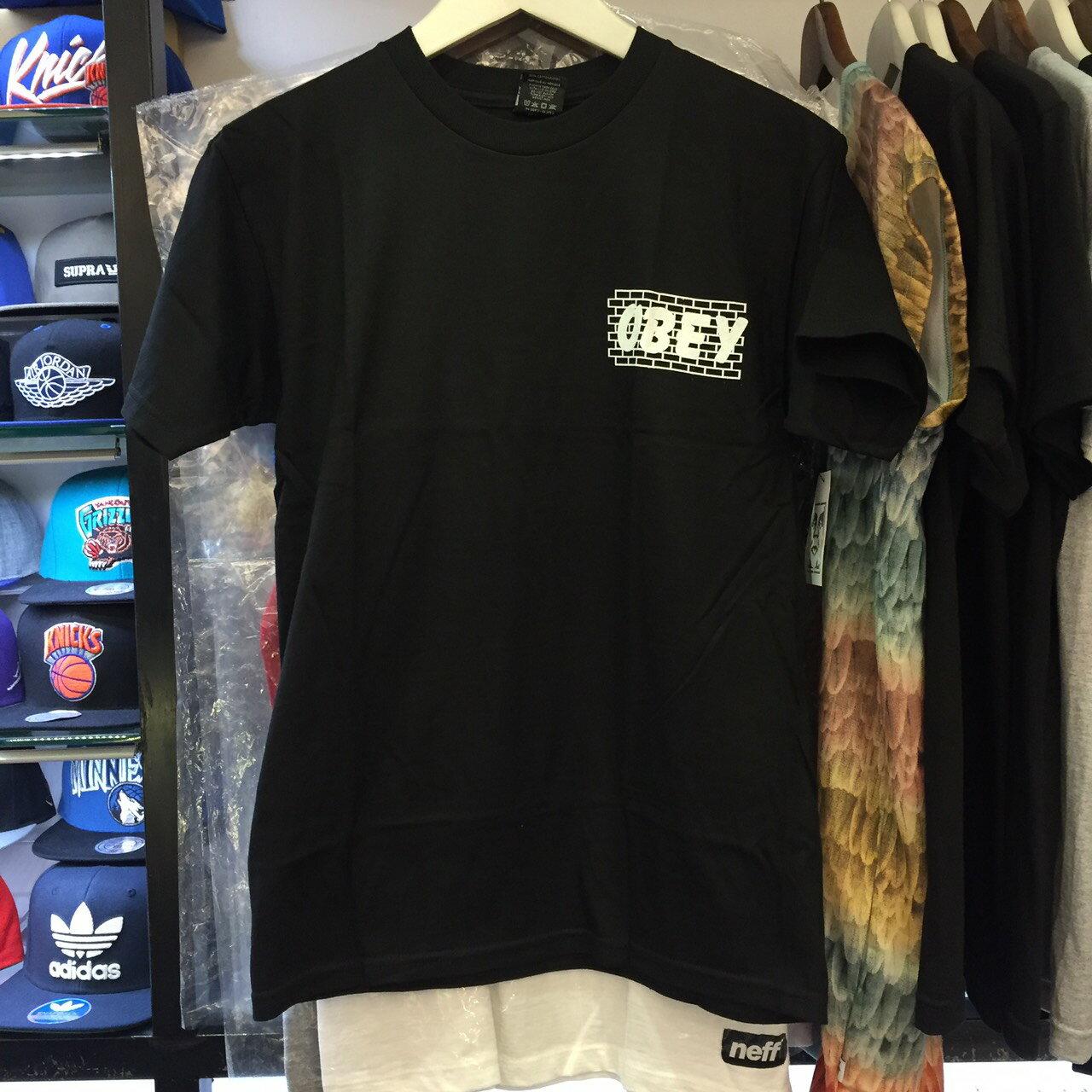 BEETLE PLUS 西門町經銷 全新 美國品牌 OBEY BRICK WALL TEE 磚牆 全黑 白字 黑白 LOGO 短T 163081179BLK OB-418 0
