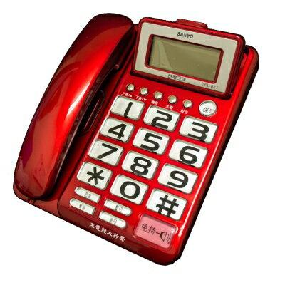【純米小舖】SANYO 三洋 可調式超大螢幕、超大字鍵有線電話機 TEL-827(三色可選)-紅色