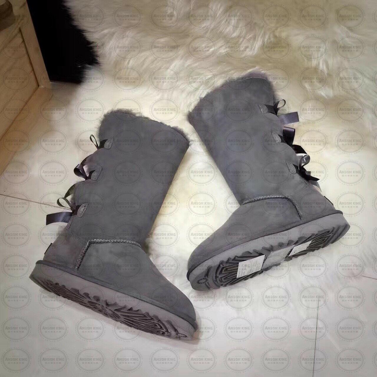 OUTLET正品代購 澳洲 UGG 一體女式絲帶蝴蝶結 保暖 真皮羊皮毛 雪靴 短靴 灰色 2