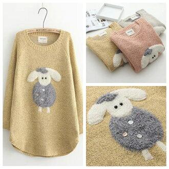 森女系俏皮純色可愛貼布小羊長版毛衣