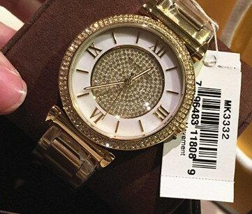 美國Outlet正品代購 MichaelKors MK 復古羅馬滿天星貝殼面鑲鑽金色    手錶 腕錶 MK3332 3